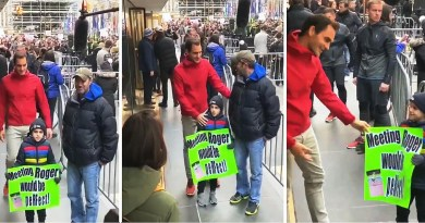 Roger Federer surprises a little fan in the exhibition tour