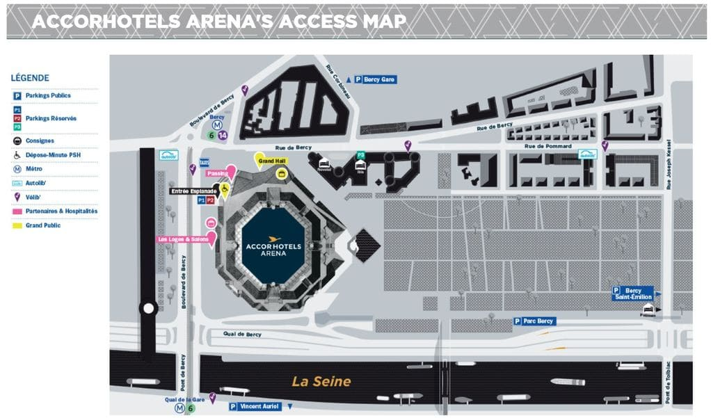 Accorhotels Arena Paris Masters Map