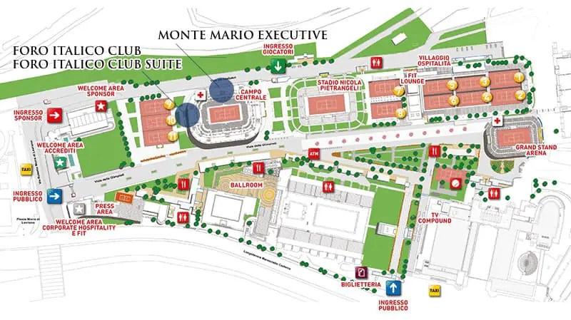 Italian Open Foro Italico Grounds Map