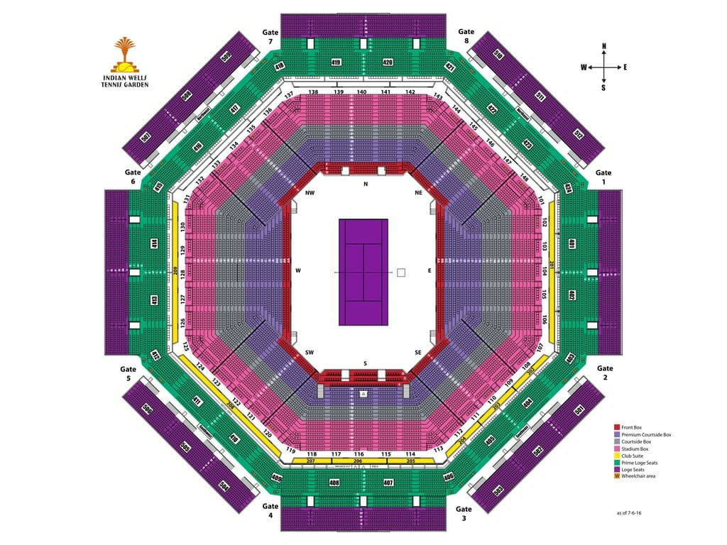 Indian Wells BNP Paribas Stadium 1 Seating Chart
