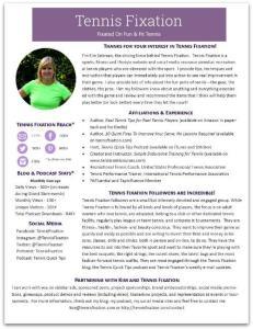Tennis Fixation Media Kit