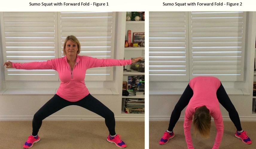 Sumo Squat with Forward Fold