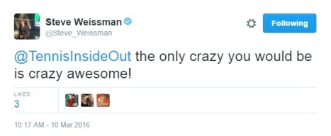 Steve Weissman tweet we are crazy awesome Mar 2016