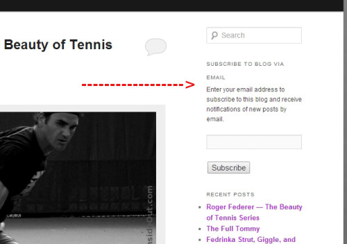 Subscribe to Blog screencap from TennisInsideOut site