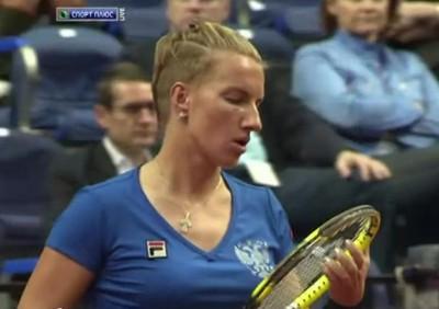 Svetlana Kuznetsova punk shaved haircut Fed Cup 2012 pictures screencaps photos