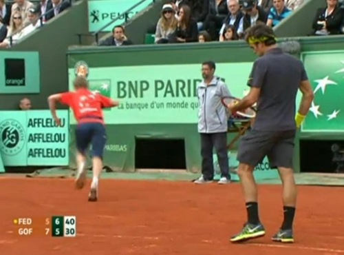 Federer set point Goffin match serve French Open pictures images photos