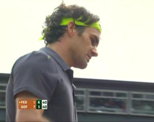 Roger Federer pensive David Goffin match Roland Garros 2012 screencaps photos pics