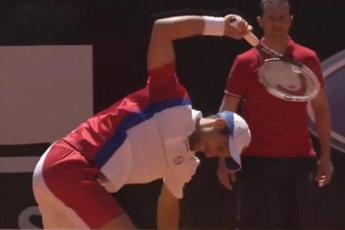 Novak Djokovic racquet smash racket toss red white blue kit screencaps pictures