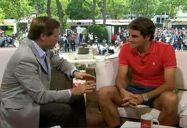 Roger Federer Tennis Channel interview Roland Garros short shorts red Nike polo hair photos pictures images screencaps French Open 2012