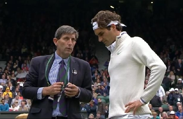 Roger RF sweater jumper Wimbledon white official chat rain delay Malisse match 2012 photos pictures screencaps images