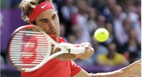 Roger Federer Olympics final forehand face tennis ball racquet red Swiss shirt pictures photos images screencaps