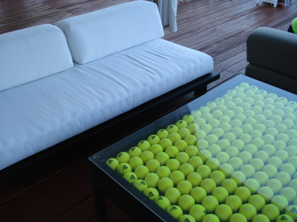 Vling party deck Cincinnati Open tennis balls table white couches pictures photos images