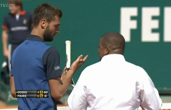 Monte Carlo Masters Benoit Paire discussing line call with Carlos Bernardes umpire clay argument fight photos pictures
