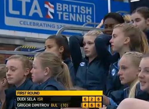 Intense worried ball girl tears Grigor Dimitrov match tennis pictures