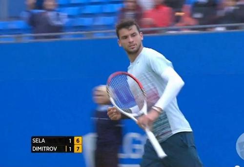 Queen's Club grass court tennis Grigor Dimitrov fist pump Monday match against Sela pictures photos images screencaps