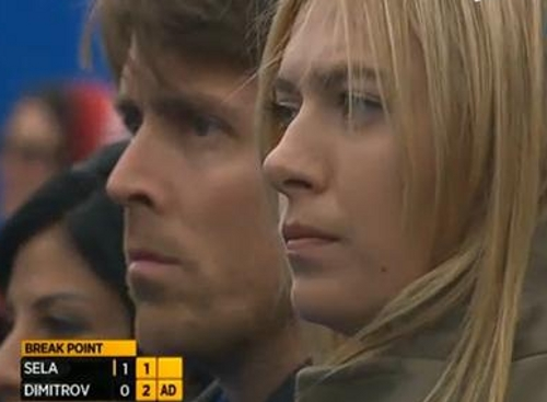 Maria Sharapova nervous stoic serious at Grigor Dimitrov match Queen's Club close-up blonde pictures