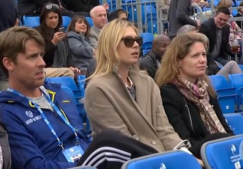 Maria Sharapova Masha at Grigor's match Queen's Club pictures photos sunglasses sunnies shades trench coat
