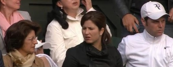 Wimbledon 2013 Lynette Federer, Mirka Federer, Severin Luthi players box Roger perplexed WTF expressions photos