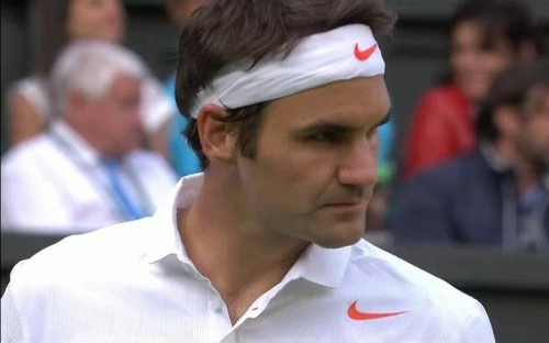 Roger Federer intense close-up handsome Wimbledon loss Stakhovsky 2013 white headband orange swoosh