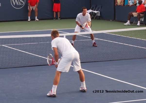 Jarkko Nieminen Philipp Kohlschreiber doubles match Cincinnati Masters Western and Southern Open wide stance at net racquets pictures images photos