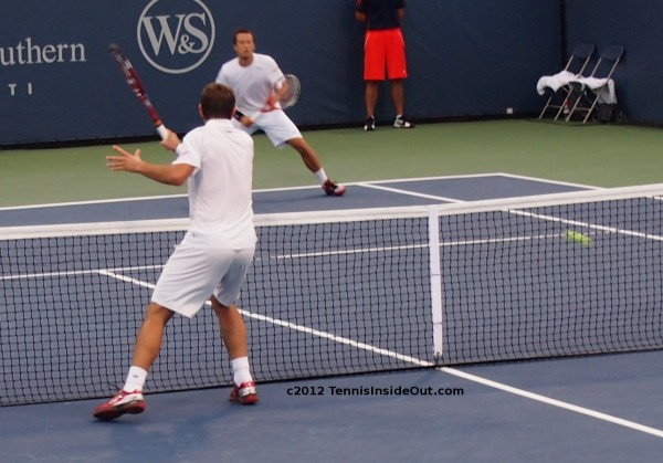 Cincinnati Open Stanislas Wawrinka Stan volley winner at net doubles Kohlschreiber photos