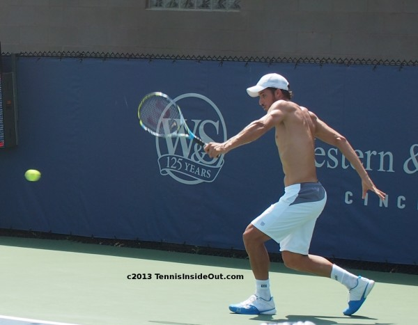 Feli Lopez backhand shirtless naked back Cincinnati 2013 practice