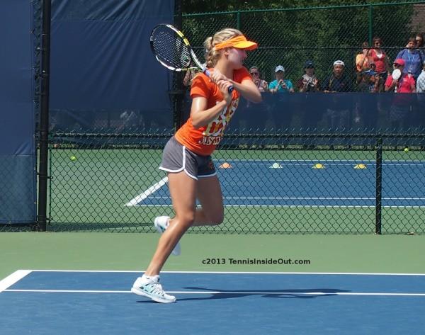Eugenie Bouchard softball swing tennis backhand follow-through running forward Cincinnati 2013