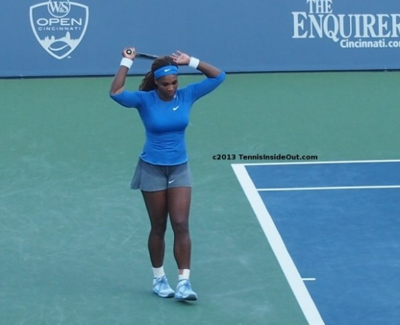 Serena Williams hands up apology long sexy legs sweaty skirt hot tennis girls Cincinnati US Open series