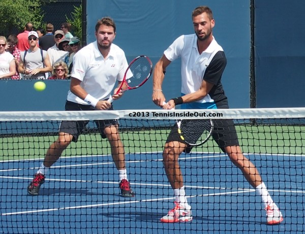Stan Wawrinka Benoit Paire Wawaire doubles Cincinatti Open volleying at net racquets cute boys tennis photos 2013