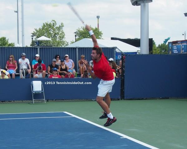 Beautiful Stan Wawrinka sexy serve flying stretch reach tennis ball leap photos practice Cincinnati US Open 2013