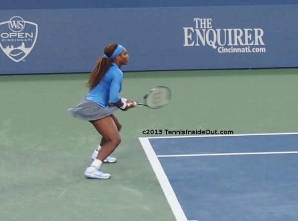 Serena Williams skirt flying up twirling return game Cincinnati US Open series blue gray tennis outfit skirt