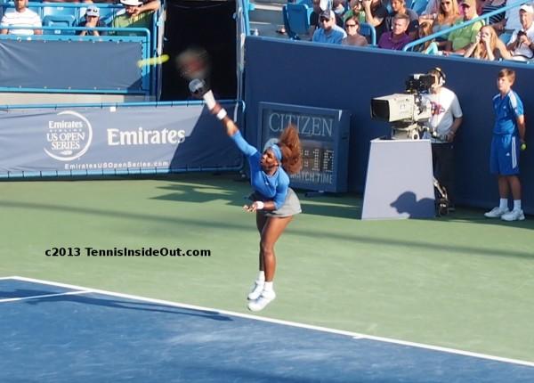 Serena Williams serve flying airborne hair Cincinnati US Open series photos