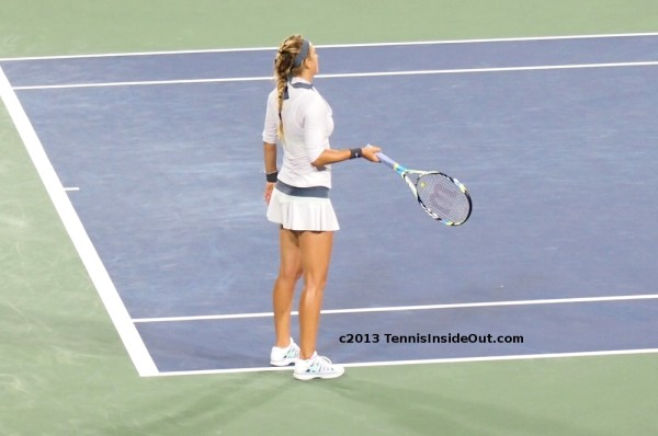 Cincinnati Open US series Victoria Vika Azarenka white tennis skirt top kit WTF stunned expression error pics