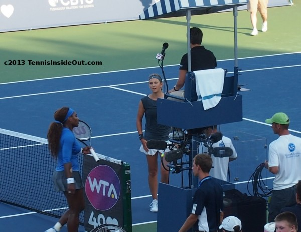 Serena Williams Victoria Azarenka meet handshake at net umpire chair Cincinnati US Open series Western and Southern tennis court final