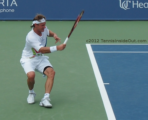 Running forehand David Nalbandian retiring Cincinnati Open tennis