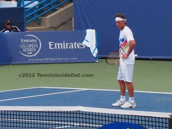 David Nalbandian scrutinizing disputing arguing line call serve hands on hips Cincinnati Open Haas match 2012