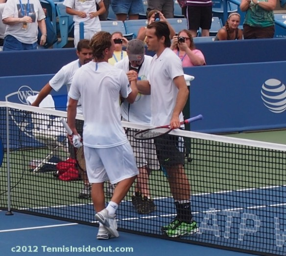 Tommy Haas David Nalbandian handshake hand clasp at net Cincinnati Masters Cincy 2012 photos