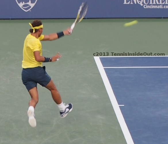 Rafa Nadal running power forehand airborne yellow shirt sexy hit tennis photos Cincy