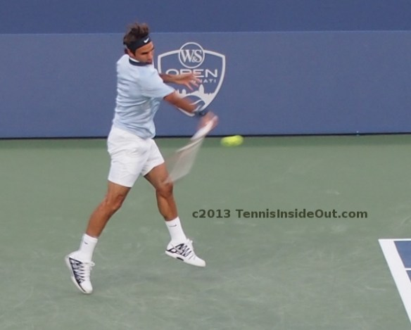 Roger Federer flying forehand Nadal match 2013 summer blue white kit pictures photos images