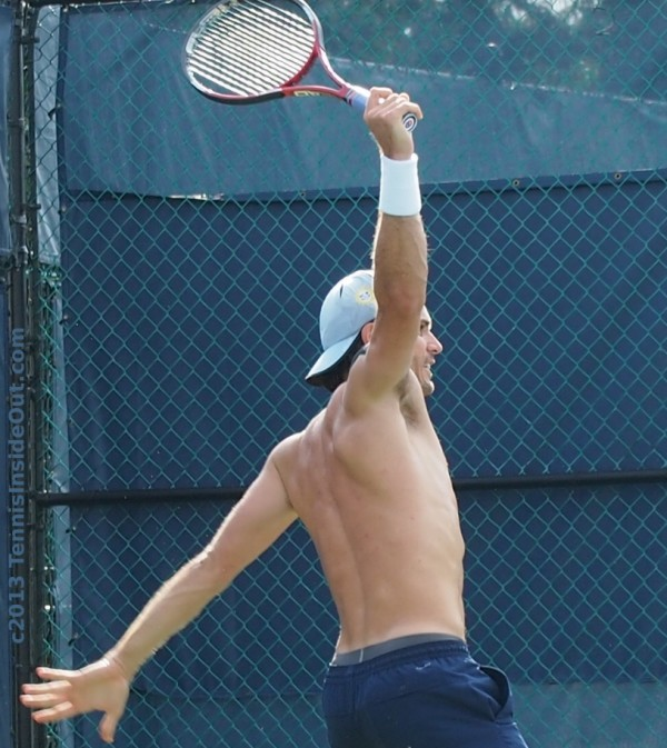 One-handed backhand follow through single backhand stretch naked shirtless back arm muscles curves photos Tommy Haas
