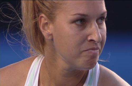Dominika Cibulkova angry determined expression stink eye to Li Na final AO 14 pics