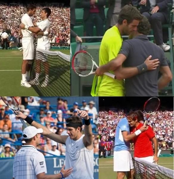 Juan Martin Del Potro hugging smoosh Novak Djokovic Roger Federer Andy Roddick pictures Wimbledon