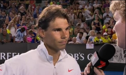 Rafael Nadal Jim Courier interview nervous suspicious about questions Tomic match retirement AO