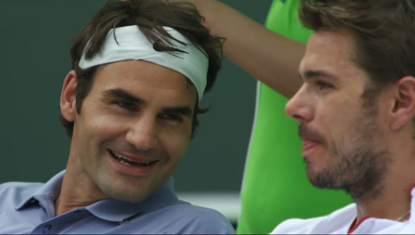 Roger Federer Stanislas Wawrinka doubles Indian Wells 2014 Rog grin Stan tongue pictures photos images screencaps