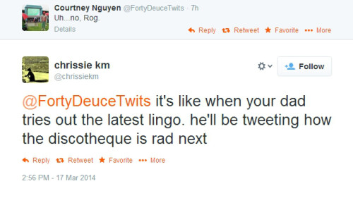 Tweet about Roger's bad lovemelongtime tweet 2014