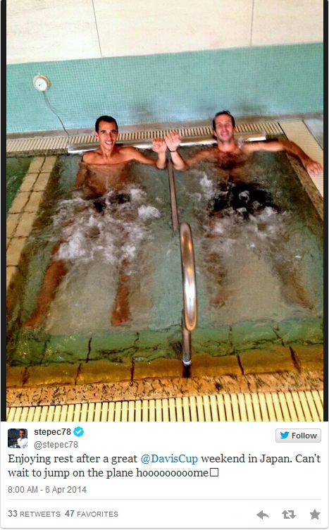 Lukas Rosol Radek Stepanek ice bath pool together hands touching shirtless bare naked legs cold water pictures images photos tweets