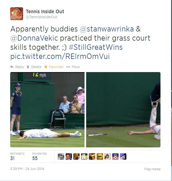 Stanislas Wawarinka Donna Vekic funny tweet falls at Wimby 2014