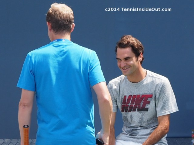 Stefan Edberg Roger Federer grin chat talk practice Western and Southern Open Cincinnati photos