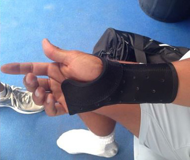 Rafa Nadal injured right wrist brace hand cast photos pics