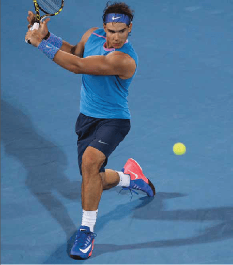 Rafa Nadal sleeveless US Open USO outfit blue and pink photos pictures biceps